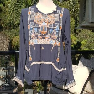 Nwt Johnny Was embroidered blouse size S